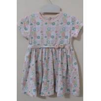 Vestido branco com estampas de flores laranjas e verdes - 18 a 24 meses - Boulevard Baby