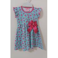 Vestido azul com morangos cor de rosa - 18 a 24 meses - LX Têxtil