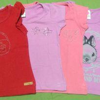 Kit 4 camisetas com strass - 12 a 18 meses - Diversos