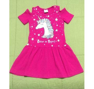 Vestido pink estampa unicórnio - 2 anos - Não informada
