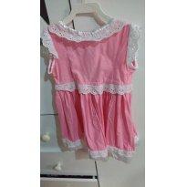vestido rosa com renda - 18 meses - Feito à mão