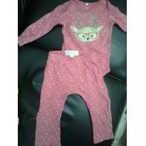 Conjunto calça e body - 3 a 6 meses - sem etiqueta