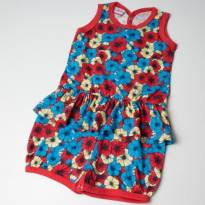 Macaquinho Infantil Meia Malha Flowers Alenice Vermelho - 6 a 9 meses - Alenice