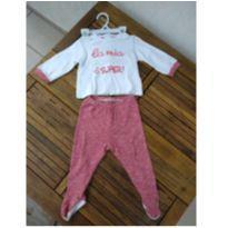 Conjunto de malha branco e vermelho Chicco - 9 meses - Chicco