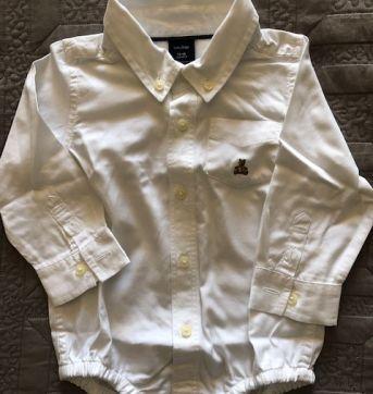 Camisa Branca com Body - Baby Gap - 12 a 18 meses - Baby Gap