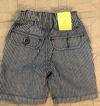 Bermuda jeans estampada c/ listras - 9 a 12 meses - Banana Danger