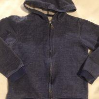 Moletom em algodão acabamento jeans - 5 anos - Gocco