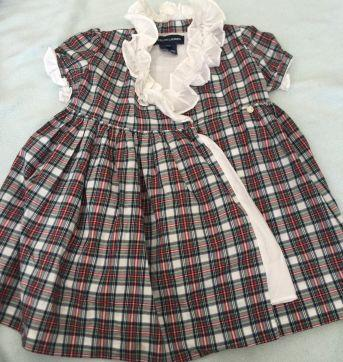 Vestido xadrez - 6 a 9 meses - Ralph Lauren