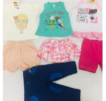 Lote Roupa Bebê Menina 7 Peças Diversas Marcas Barato D+ - 6 a 9 meses - PUC e Nini e Bambini