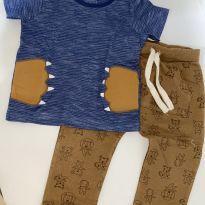 Conjunto calça+camiseta azul e marrom - 9 a 12 meses - Teddy Boom