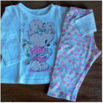 Pijama urso com corações - 9 a 12 meses - Kyly