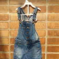 macacão jeans feminino com bolso e alça regulável - 2 anos - Palomino