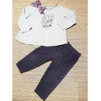 Conjunto Blusa Manga Comprida e Calça Coruja - 6 meses - Koala Baby