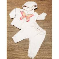 Conjunto Moletom Creme Borboleta - 3 a 6 meses - Zara Baby