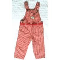 Jardineira / Macacão vermelha listrada muito confortável - 1 ano - OshKosh