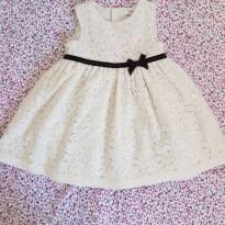 Vestido de Renda Off White - 12 meses - 1 ano - Carter`s