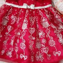 Vestido Festa Vermelho com Prata - 2 anos - Jona Michelle