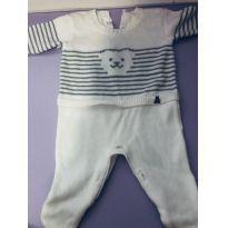 Macacão tricot branco - 0 a 3 meses - Paola Da Vinci