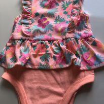 Body Laranja Floral Garanimals - 6 a 9 Meses - 6 a 9 meses - Garanimals