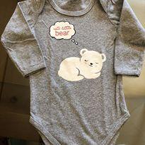 Body Manga Longa Cinza Mescla Urso Baby Way - 6 a 9 Meses - 6 a 9 meses - Baby Way