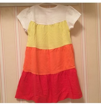 Vestido Amarelo, Laranja e Coral - 1 ano - Poim