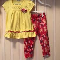 Conjunto Floral Amarelo e Rosa - 2 anos - Fakini