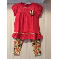Conjunto Floral Vermelho e Amarelo - Fakini - 2 anos - Fakini