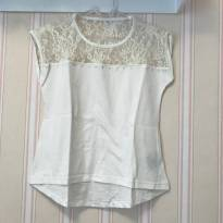 Camiseta Off White com Renda - 4 anos - Malwee
