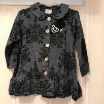 Vestido Manga Longa Floral Preto e Cinza - Milon - 2 anos - Milon