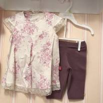 Conjunto Floral Off White e  Lavanda - 2 anos - Elian