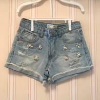 Shorts Jeans Florzinhas em Pérolas e Pedrarias - Zara - 6 anos - Zara