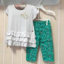 Conjunto Florzinha Verde e Branco - Milon - 2 anos - Milon