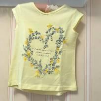 Camiseta Amarela Coração em Flores - ZARA - 4 anos - Zara