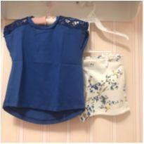 Conjunto Azul Royal e Floral - ZARA - 3 anos - Zara