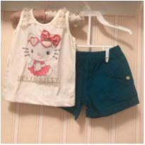 Conjunto Off White e Verde Petróleo - Hello Kitty - 3 anos - Hello  Kitty