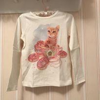 Camiseta Off White Manga Longa Gatinha - Momi - 3 anos - Momi