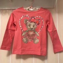 Camiseta Manga Longa Rosa Ursinha - Momi - 2 anos - Momi