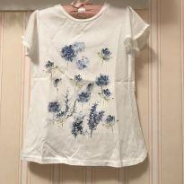 Camiseta Flores Azuis - ZARA - 5 anos - Zara