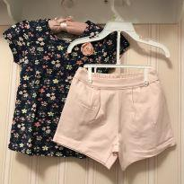 Conjunto Floral Marinho e  Rosa - MILON