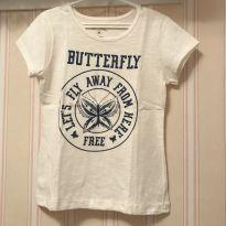 Camiseta Off White Butterfly - 6 anos - Fuzarka