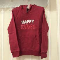 Blusão Moletom Happy Journey Rosa Escuro  - Hering - 6 anos - Hering Kids