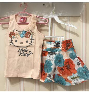 Conjunto Floral Pêssego e Verde Água - Hello Kitty - 3 anos - Hello  Kitty