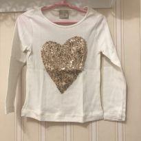 Camiseta Manga Longa Coração Off White - ZARA - 3 anos - Zara