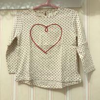 Camiseta Manga Longa Coração - Zara - 2 anos - Zara