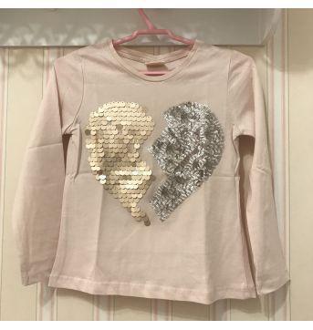 Camiseta Manga Longa Coração Rosa bb - ZARA - 3 anos - Zara