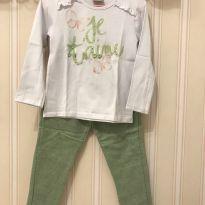 Conjunto J`taime Verde e Branco - MILON - 4 anos - Milon