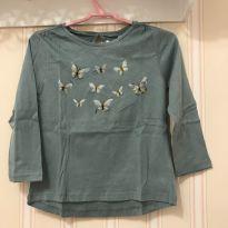 Camiseta Manga Longa Verde Borboletas - ZARA - 2 anos - Zara