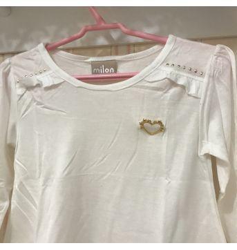 Camiseta Manga Longa Off White - MILON - 3 anos - Milon