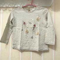 Camiseta Manga Longa Borboletinhas Off White - ZARA - 2 anos - Zara