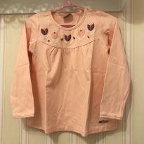 Camiseta Manga Longa Flores Rosa - MILON - 4 anos - Milon
